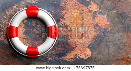 Life Buoy On Metal Background. 3D Illustration