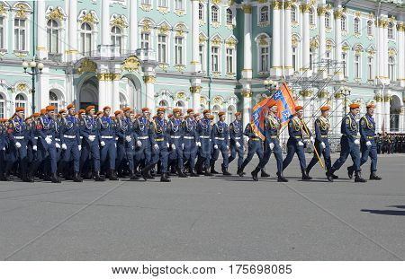 SAINT PETERSBURG, RUSSIA - MAY 05, 2015: Front calculation of the Institute of state fire service of EMERCOM on rehearsal of parade in honor of Victory day. Saint Petersburg