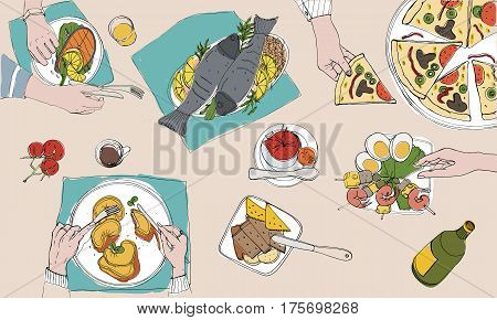 Festive tableful, top view, laid table, holidays hand drawn colorful illustration.