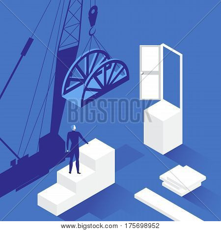 Vector illustration of businessman standing on career stairs in front of opened door. New opportunities and career growth in business concept flat style design.