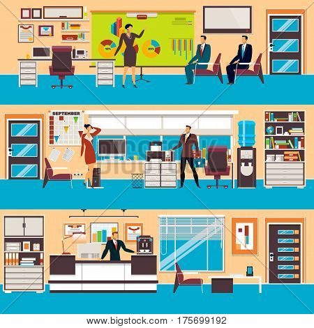 Vector set of modern workspace interiors with office furniture and equipment. People in office and in waiting hall, flat style illustration.