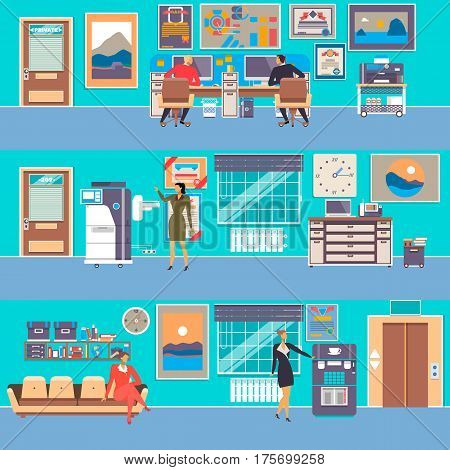 Vector set of modern workspace interiors with office furniture, office equipment and business people, flat style illustration.