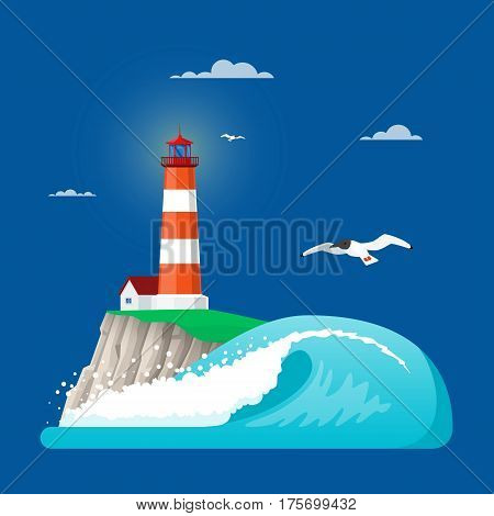 Vector illustration of lighthouse on coastline rock or island rock, ocean wave and seagulls. Flat style design elements.