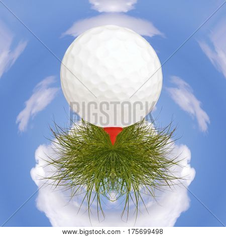 Golf ball on tee rests on grass with small planet sky in background