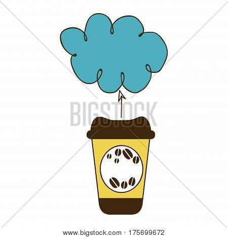 color silhouette with disposable coffee cup and cloud vector illustration