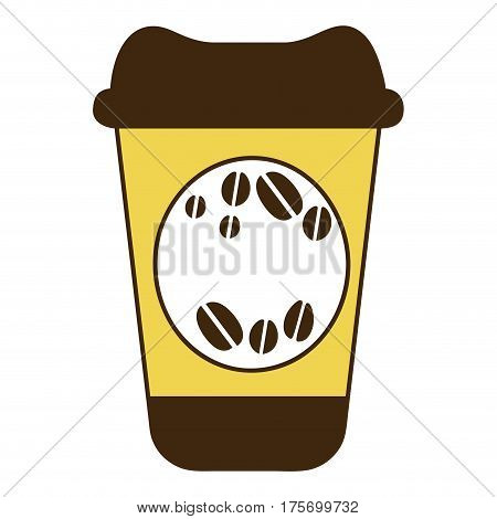color silhouette of disposable coffee cup vector illustration