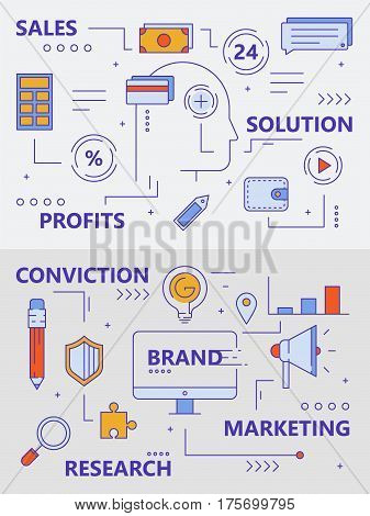 Vector set of sales and marketing concept banners. Modern thin line flat design elements, icons for web, marketing, presentation and printing.