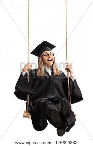 Overjoyed graduate student swinging on a swing isolated on white background