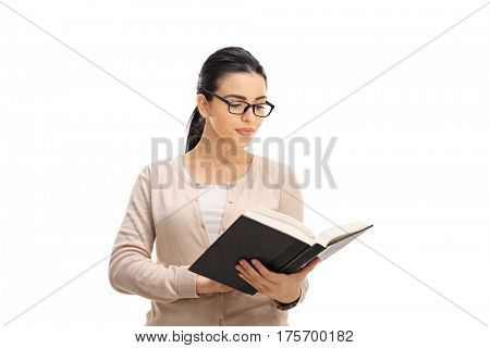 Female professor reading a book isolated on white background