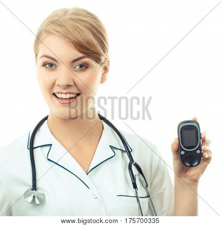 Vintage Photo, Woman Doctor Holding Glucose Meter, Measuring And Checking Sugar Level