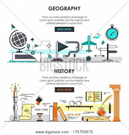 Vector set of history and geography banners. Modern thin line flat templates for educational promotional materials, presentation, print, education app.
