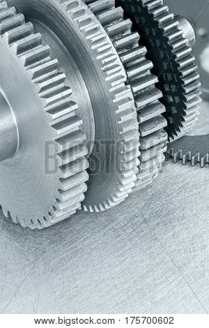 Different Metal Gearwheels Macro View