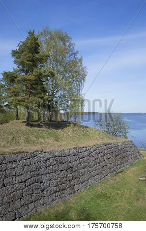 On the bastions of the fortress Trongzund. Vysotsk, Leningrad region, Russia