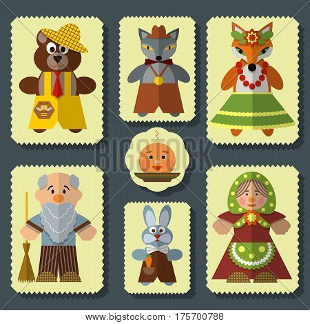 Vector set of Kolobok, The Bun russian folk fairy tale for kids characters. Flat style design elements, icons, stamps.