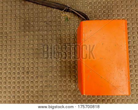Steel box. orange tool box isolated on white background