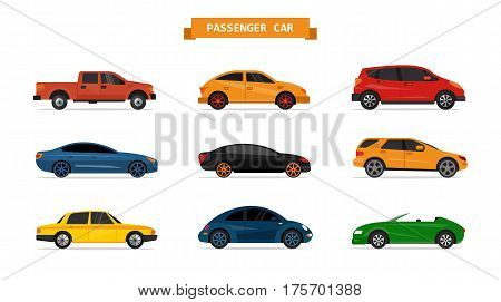 Vector set of different cars isolated on white background. Car icons and design elements. Sedan, pick up, suv, sport car, coupe.