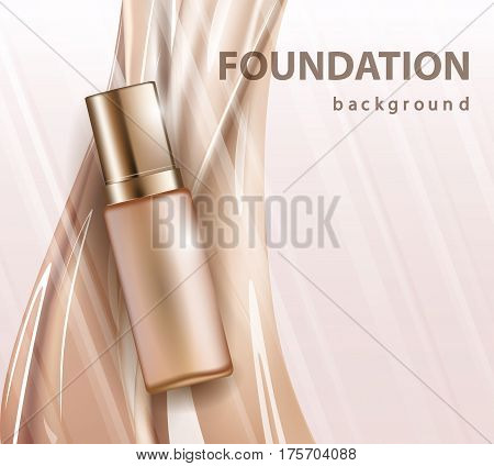Concealer stick ads 3d illustration foundation product with liquid foundation texture splashes in the air. Vector illustration