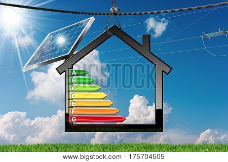 Energy Efficiency - 3D illustration of a symbol in the shape of house with energy efficiency rating solar panel and a power line
