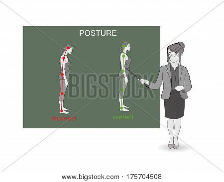 Correct and incorrect posture rights. Medical recommendations. The teacher points with a pointer.