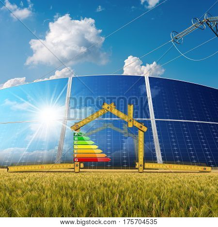 Wooden ruler in the shape of a house with energy efficiency rating solar panels and a power line on blue sky with clouds