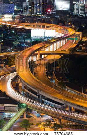 Highway overpass interchanged close up aerial view at night