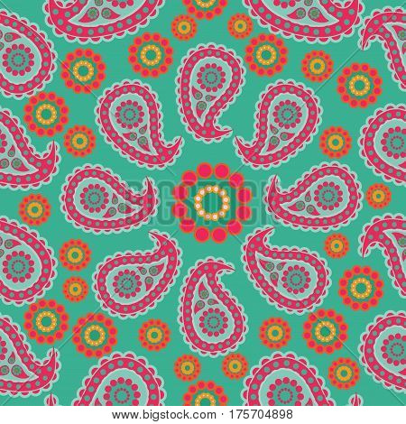 Paisley on a green background. Seamless pattern. Traditional folk pattern with Paisley. Bright, colorful. Design for textiles, wall hangings, wrapping paper.