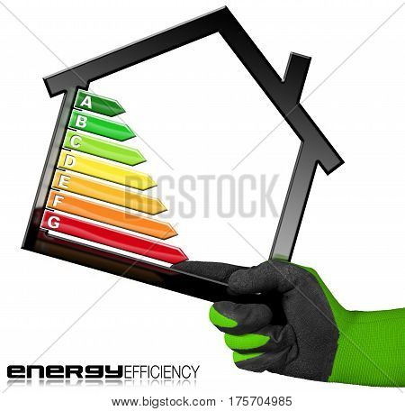 Energy Efficiency - Hand with work glove (photo) holding a house model (3D illustration) with energy efficiency rating. Isolated on white background