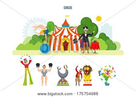 Circus chapiteau building in park and entertainment attractions. Magician, clown animator, athlete, trained wild animals, ready to show submission. Vector illustration isolated on white background.