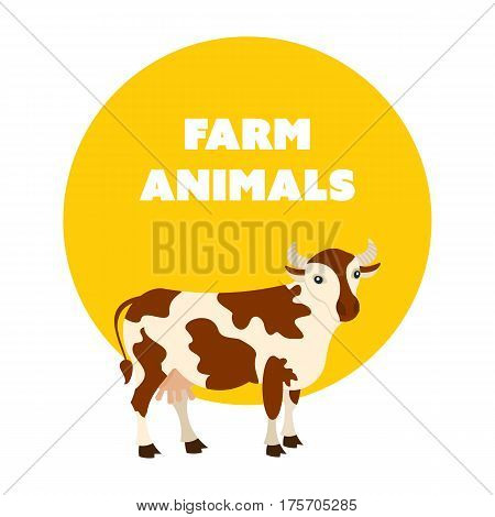 Farm animals concept. Spotted cow home isolated on white background. Cartoon vector illustration isolated