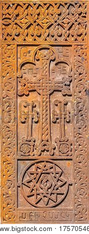 Armenian medieval stone cross carved out of Tufa stone.