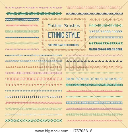 Set of Vector Pattern Brushes with Outer and Inner Corner Tiles. Easy color change. Perfect to create borders, frames, dividers. Hand drawn design elements.