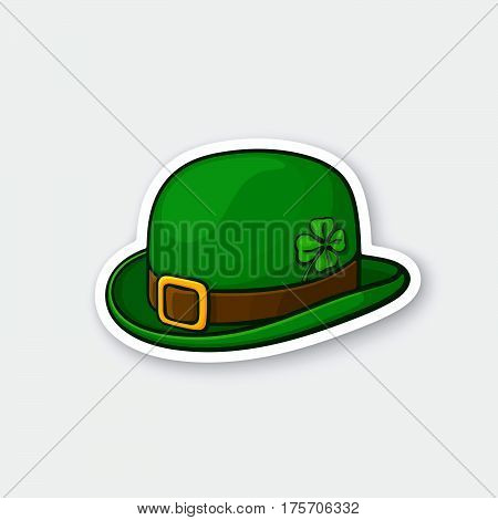 Vector illustration. Green bowler hat with buckle and clover. Saint Patrick's Day symbol. Sticker in cartoon style with contour. Decoration for greeting cards patches prints for clothes badges emblems