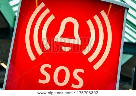 Red Back Lit Warning SOS Sign Indoors