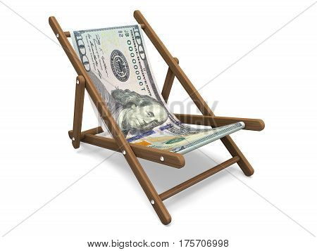 Deckchair with the dollar banknote. Concept 3D illustration.