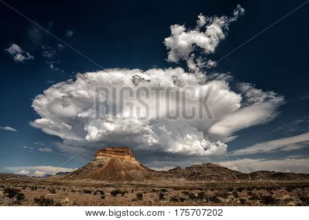 Storm Clouds Rest Above Mountains, Big Bend Texas