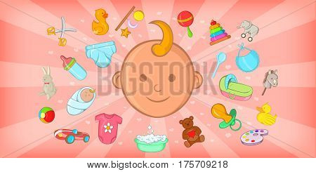 Baby born horizontal banner concept. Cartoon illustration of baby born vector horizontal banner for web