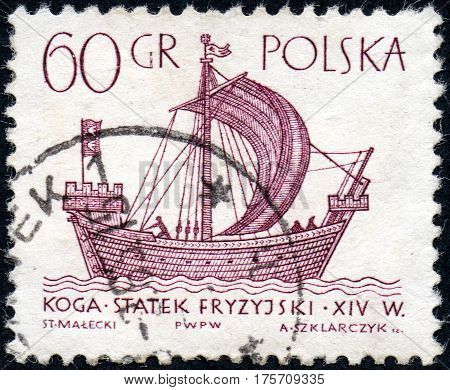 UKRAINE - CIRCA 2017: A stamp printed in Poland shows chip XIV century Hanse kogge the series Sailing Ships circa 1963