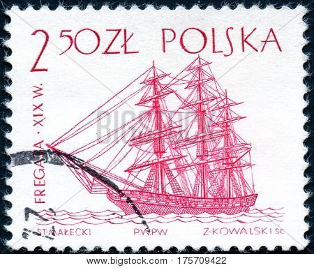 UKRAINE - CIRCA 2017: A stamp printed in Poland shows a historic frigate sailing ship sailing ship used to be the fastest around until the XVIII Century circa 1963
