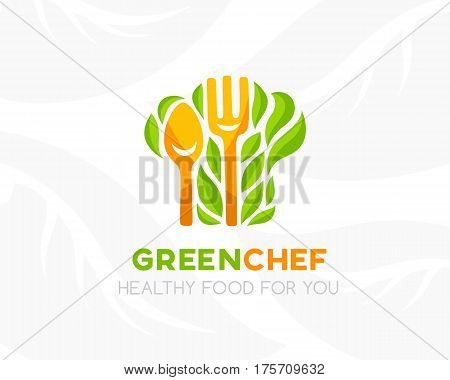 Chef hat with leaves and kitchen utensil. Logo template. Conceptual icon for natural vegan bio organic farm healthy vegan product store or shop.