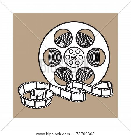 Classical motion picture, cinema film reel, sketch style black and white vector illustration isolated on brown background. Hand drawn film reel, cinema object, footage material