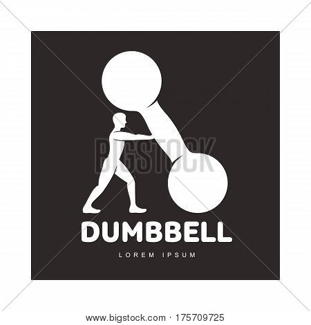 Graphic logo template with full length figure of bodybuilder man supporting a big dumbbell, vector illustration isolated on black background. Stylized bodybuilder and dumbbell logotype, logo design