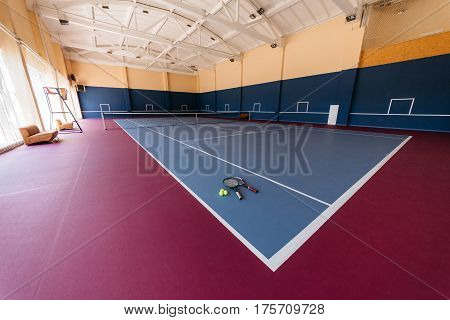 empty colorful big tennis sport court interior