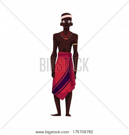 Native aborigine man from African tribe in loincloth and bead necklace, cartoon vector illustration isolated on white background. Smiling handsome male African aborigine, full length portrait