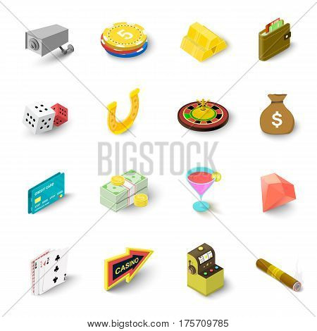Casino icons set. Isometric illustration of 16 casino vector icons for web
