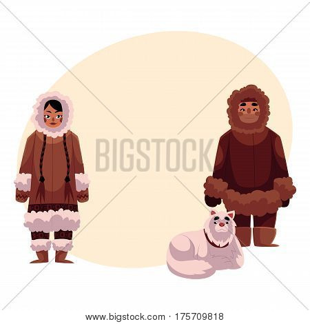 Eskimo, Inuit man and woman in warm winter clothes with white fluffy sledge dog, cartoon vector illustration with place for text. Full length portrait of Eskimo, Inuit couple and sledge dog