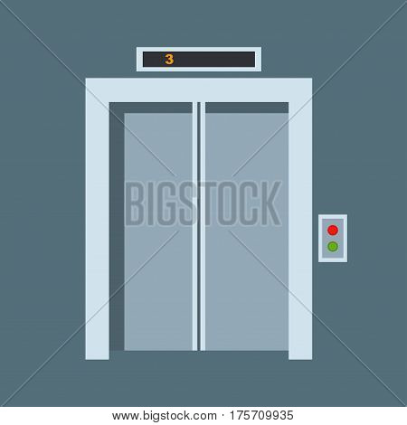 Door of elevator. Colorful front door to house and building in flat design style isolated. Vector illustration door modern new decoration open elegant room lock