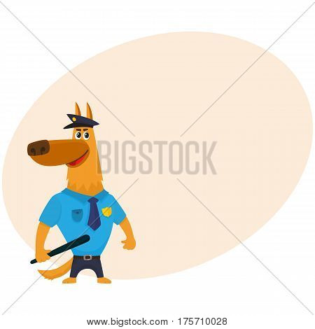 Funny shepherd dog character in blue police uniform having cap, badge and baton, cartoon vector illustration with place for text. Police dog character in typical uniform