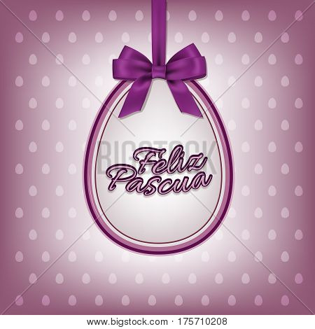 Happy Easter greeting card template with Spanish Feliz Pascua text. Vector illustration.