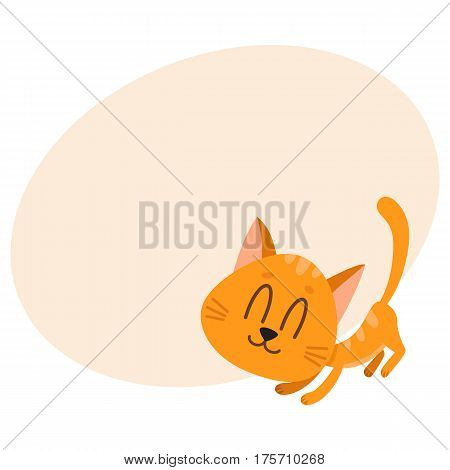 Cute and funny red cat character, fawning, asking for caress, cartoon vector illustration with place for text. Cute and funny red cat character, nice and sweet with tail up