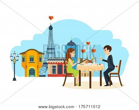 Happy couples in love concept. Enamoured couple sitting at a table in a restaurant Paris, talking and drinking champagne. Vector illustration isolated on white background.